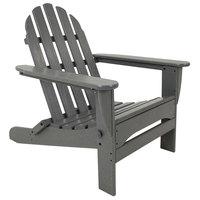POLYWOOD AD5030GY Slate Grey Classic Folding Adirondack Chair
