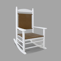 POLYWOOD K147FWHTW Tigerwood Jefferson Woven Rocking Chair with White Frame