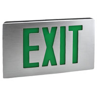 Lavex Industrial Single Face Aluminum LED Exit Sign with Green Lettering and Battery Backup