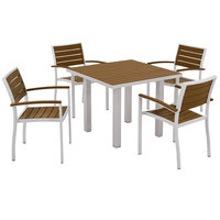 POLYWOOD PWS118-1-11TE Teak Euro 36 inch Square Dining Height Table with Textured Silver Frame and 4 Chairs