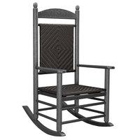 POLYWOOD K147FGYCA Cahaba Jefferson Woven Rocking Chair with Slate Grey Frame