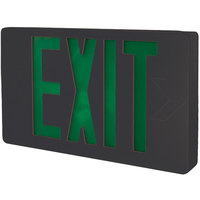 Lavex Industrial Universal Black Exit Sign with Green Lettering and Battery Backup