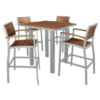 POLYWOOD PWS158-1-11TE Teak Euro 36 inch Square Bar Height Table with Textured Silver Frame and 4 Chairs