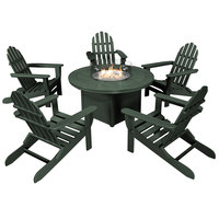 POLYWOOD PWS414-1-GR Green 48 inch Round Fire Pit Table with 5 Classic Folding Adirondack Chairs