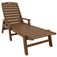POLYWOOD NCC2280TE Teak Nautical Folding Adjustable Chaise with Arms