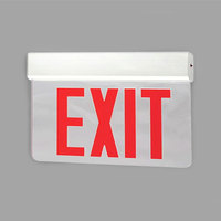 Lavex Industrial New York City Approved Single Face Aluminum Exit Sign with Red LED Lettering and Edge Lighting (AC Only) - 120/277V