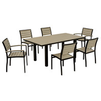 POLYWOOD PWS117-1-12SA Sand Euro 36 inch x 72 inch Rectangular Dining Height Table with Textured Black Frame and 6 Chairs