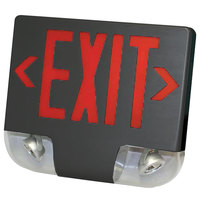 Lavex Industrial Double Face Black Exit Sign and Emergency Light Combination with Red Lettering and Battery Backup