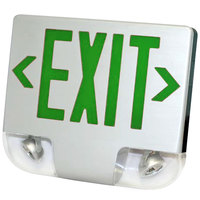 Lavex Industrial Single Face White Exit Sign and Emergency Light Combination with Green Lettering and Battery Backup