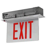 Lavex Industrial Single Face Mirror/White Recessed LED Exit Sign with Edge Lighting, Red Lettering, and Battery Backup