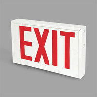 Lavex Industrial New York City Approved Universal Heavy-Duty White Steel Exit Sign with Red Lettering and Battery Backup - 120/277V
