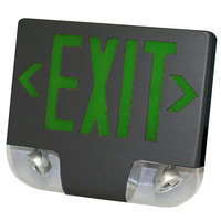 Lavex Industrial Single Face Black Exit Sign and Emergency Light Combination with Green Lettering and Battery Backup