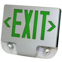 Lavex Industrial Single Face Aluminum Remote Capable Exit Sign and Emergency Light Combination with Green Lettering and Battery Backup