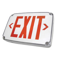 Lavex Industrial Wet Location Cold Weather Ready Single Face Black Compact LED Exit Sign with Red Lettering and Battery Backup - 120/277V