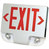 Lavex Industrial Single Face White Exit Sign and Emergency Light Combination with Red Lettering and Battery Backup