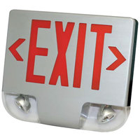 Lavex Industrial Double Face Aluminum Exit Sign and Emergency Light Combination with Red Lettering and Battery Backup