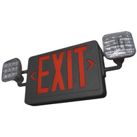 Lavex Industrial Universal Black LED Exit Sign and Emergency Light Combination with Red Lettering and Battery Backup - 120/277V