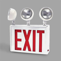 Lavex Industrial New York City Approved Single Face White Exit Sign and 2/3 Head Emergency Light Combination with Red Lettering and Battery Backup