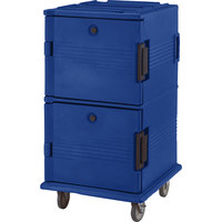 Cambro UPC1600HD186 Navy Blue Ultra Camcart Insulated Food Pan Carrier with Heavy Duty Casters