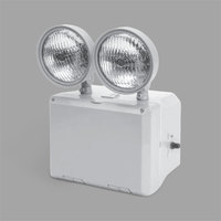 Lavex Industrial Wet Location Cold Weather-Ready Remote Capable Dual Head LED Gray Emergency Light with Battery Backup