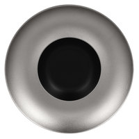 RAK Porcelain MFFDGD29SB Metal Fusion 11 7/16 inch Silver / Black Porcelain Gourmet Deep Plate - 6/Case