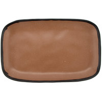 GET CS-1170-TP Pottery Market 12 inch x 7 1/2 inch Matte Speckled Brown Melamine Rectangular Platter - 12/Pack