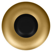 RAK Porcelain MFFDGD29GB Metal Fusion 11 7/16 inch Gold / Black Porcelain Gourmet Deep Plate - 6/Case