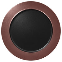 RAK Porcelain MFNOFP32BB Metal Fusion 12 5/8 inch Bronze / Black Porcelain Flat Plate with Rim - 6/Case