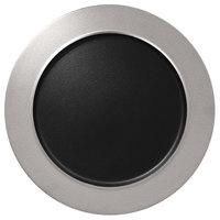RAK Porcelain MFNOFP32SB Metal Fusion 12 5/8 inch Silver / Black Porcelain Flat Plate with Rim - 6/Case