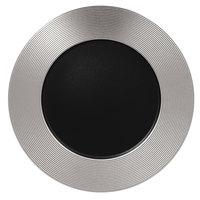 RAK Porcelain MFEVFP33SB Metal Fusion 13 inch Silver / Black Embossed Porcelain Flat Plate - 6/Case