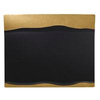 RAK Porcelain MFMRRP25GB Metal Fusion 9 7/8 inch x 7 7/8 inch Gold / Black Porcelain Rectangular Platter - 12/Case
