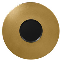 RAK Porcelain MFFDGF29GB Metal Fusion 11 3/8 inch Gold / Black Porcelain Gourmet Flat Plate - 12/Case