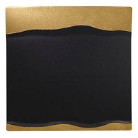 RAK Porcelain MFMRSP25GB Metal Fusion 9 7/8 inch x 9 7/8 inch Gold / Black Porcelain Square Platter - 12/Case