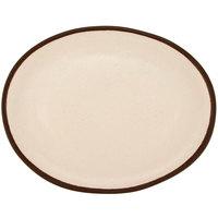 GET P-129-CRM Pottery Market 11 3/4 inch x 9 1/4 inch Matte Cream Melamine Platter - 12/Pack