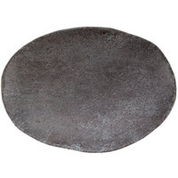 GET SB-1060-MNS Moonstone 9 1/2 inch x 6 3/4 inch Slate Melamine Oval Plate   - 6/Pack