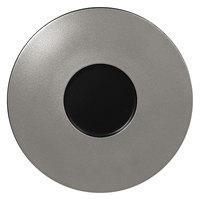 RAK Porcelain MFFDGF29SB Metal Fusion 11 3/8 inch Silver / Black Porcelain Gourmet Flat Plate - 12/Case
