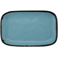 GET CS-1170-GBL Pottery Market 12 inch x 7 1/2 inch Matte Speckled Grayish Blue Melamine Rectangular Platter - 12/Pack