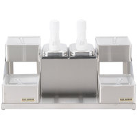 San Jamar P9724 Self Service Condiment Center with 4 Trays and 2 Pumps