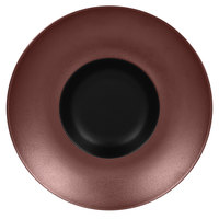 RAK Porcelain MFFDGD26BB Metal Fusion 10 1/4 inch Bronze / Black Porcelain Gourmet Deep Plate - 6/Case