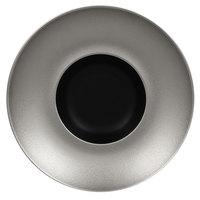 RAK Porcelain MFFDGD26SB Metal Fusion 10 1/4 inch Silver / Black Porcelain Gourmet Deep Plate - 6/Case