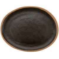 GET P-129-BR Pottery Market 11 3/4 inch x 9 1/4 inch Matte Brown Melamine Platter - 12/Pack