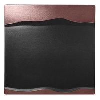 RAK Porcelain MFMRSP25BB Metal Fusion 9 7/8 inch x 9 7/8 inch Bronze / Black Porcelain Square Platter - 12/Case