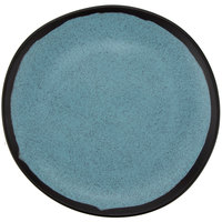 GET CS-70-GBL Pottery Market 7 inch Matte Speckled Grayish Blue Melamine Bread Plate - 12/Pack