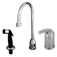 T&S B-2749 Side Mount Faucet with Remote On/Off Control Base, Swivel Gooseneck, Sidespray with Vacuum Breakers, and Flexible Stainless Steel Water Connectors ADA Compliant