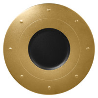 RAK Porcelain MFGDRP31GB Metal Fusion 12 1/4 inch Gold / Black Porcelain Round Plate - 6/Case
