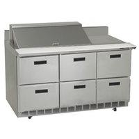 Delfield STD4472N-18M 72 inch 6 Drawer Mega Top Refrigerated Sandwich Prep Table with 4 inch Backsplash