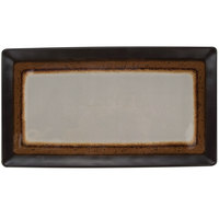 GET CS-1307-MBR Mantle 12 3/4 inch x 7 inch Brown Melamine Rectangular Platter - 12/Pack