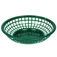 Green 8 inch Round Plastic Fast Food Basket - 12/Case