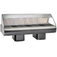 Alto-Shaam PD2SYS-96 SS Stainless Steel Heated Display Case with Curved Glass and Pedestal Base - Full Service 96 inch