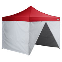 Backyard Pro AL Series 10' x 10' Red Straight Leg Aluminum Instant Canopy Deluxe Kit with 4 Side Walls